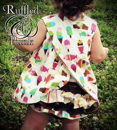 Pinafore Pinny Reversible Pinafore Top, Children's Clothing Sizes 3T - 4T Rileigh Icecream... open backs