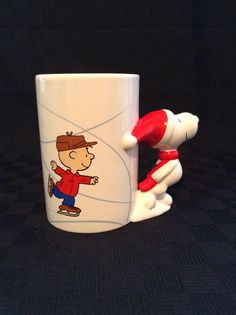 Teleflora 50 Years Charlie Brown Skating Christmas Snoopy Handle Coffee Cup Mug #Teleflora