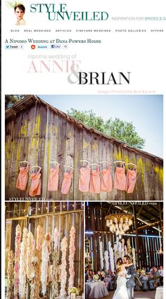 Color coordinated hangers for your bridemaids dressess    and our fabric garlands  luis obispo wedding photographer Ken Kienow  The barn at the Dana-Powers House