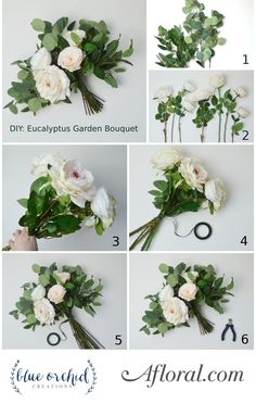 Get ready to make a bridal bouquet for your wedding. Follow this bouquet DIY from silk flower designer Blue Orchid Creations and walk down the aisle with a handmade Eucalyptus Garden Bouquet. #weddingbouquets