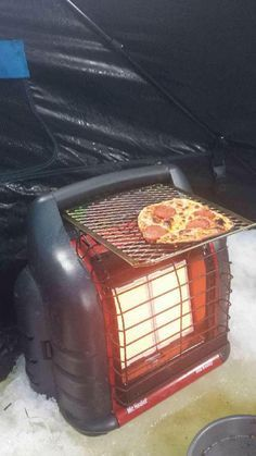 Like the idea but don't drop food on the ceramic plates! Do you get hungry while ice fishing? Heater Big Buddy Heater and 3 dollars for a paint bucket grate? If you answered yes, you can now have a Red Neck ice fishing grille! Ice Fishing Huts, Ice Fishing Gear, Fishing Shack, Gone Fishing, Fishing Lures, Fishing Kit, Walleye Fishing, Fishing Stuff, Fishing Rods
