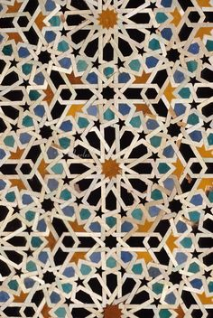 Fez, Morocco - Geometric Tile Work, Bou Inania Medersa.  14th. Century A.D.