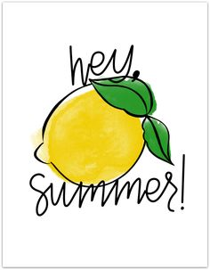 """This super fun and refreshing FREE Summer Printable is the perfect addition to your decor this summer season! The lemons add the perfect amount of """"freshness"""" to your home! Free Summer, Hello Summer, Summer Fun, Summer Time, Summer Chalkboard, Chalkboard Art, Chalkboard Drawings, Summer Captions, Lemon Party"""
