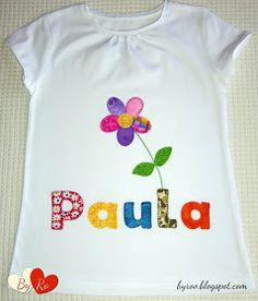 By Ro: Camiseta de Patchwork: FLOR CON TALLO PARA PAULA