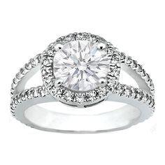 Engagement Ring - Pave Set Split Band Round Diamond Engagement Ring in 14K White Gold 0.70 tcw. - ES398