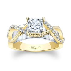 White & Yellow Gold Princess Cut Engagement Ring 8018LTY