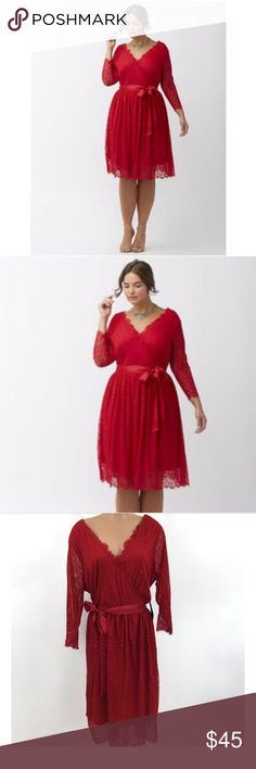 """Lane Bryant Red Lace Dress Size:  20  Chest - (48"""") Armpit to Armpit:  24 inches Waist - (40"""") Straight Across Unstretched: 20 inches Length - Shoulder at highest point to Hem: 43 inches  Surplus Neckline with a snaps to prevent gapping;  can be worn with or without ribbon belt; elastic waistline; zippered v back; fully lined except for sleeves.  New Without Tags Lane Bryant Dresses"""