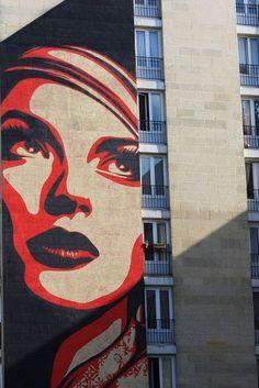 "Shepard Fairey ""Rise Above Rebel"" - Paris - pintcosi Urban Graffiti, Street Art Graffiti, Tag Art, Paris 13eme, Chalk Drawings, Street Culture, Mural Art, Street Artists, Art Plastique"