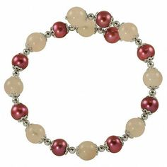 """Zales 7.0-8.0mm Dyed Plum Cultured Freshwater Pearl and Rose Quartz Bracelet in Sterling Silver - 7.5"""""""