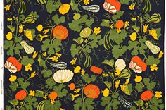 Pumpor, black - Union linen - Hand printed textile  interior decoration @ Jobs handtryck