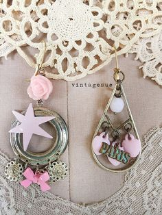 pink parisupcycled dangle earrings mis matched french by Arey