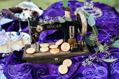 Coraline Inspired Wedding Purple and Blue color scheme vintage sewing machine button sugar cookies designed by In the Clouds Events