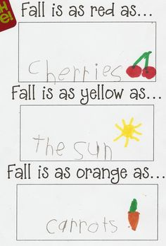 KINDERGARTEN--Mizzzz Boocanan Fall Writing Fall leaves are as red as. Fall leaves are as yellow as. Fall leaves are as orange as. Fall leaves are as brown as. Fall Preschool, Kindergarten Literacy, Literacy Activities, Kindergarten Interactive Writing, Kindergarten Thanksgiving, Literacy Centres, Thanksgiving Art, 1st Grade Writing, Teaching Writing