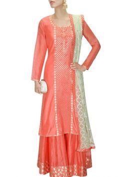 AMRITA THAKUR Dark peach and mint green applique work kurta and sharara pants set