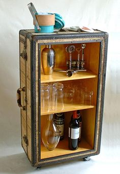 A mini-bar from recycled suitcase