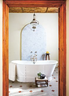 Built in a renovated Cape Dutch house in Montagu is now a guest-house annexe and garden-produce shop, run by Jacques Erasmus of Hemelhuijs fame and Hein Liebenberg. House, Interior, Open Showers, Brick Colors, Interior Spaces, Oak Cabinets, Guest House, Contemporary Furniture, Pool Paint
