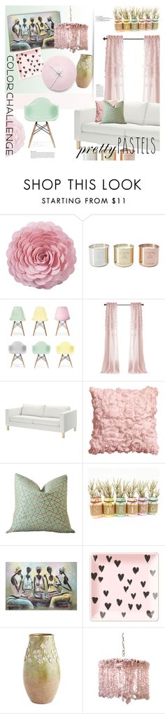 """Color Challenge: Pretty Pastels"" by stacey-lynne ❤ liked on Polyvore featuring interior, interiors, interior design, home, home decor, interior decorating, Tom Dixon, Ciel, H&M and NOVICA"