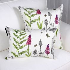 OXALIS cushion, made of French printed linen, has this exquisite botanical design, colorful blend of green and a touch of raspberry on off white linen. Price is for one cushion. Printed Linen, Raspberry, Throw Pillows, Green, Prints, Color, Design, Toss Pillows, Raspberries