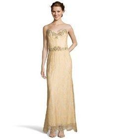 Marchesa Nottegold beaded cotton blend lace strapless evening gown