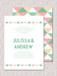 Pastels, mint green and pink, sans serif font, triangles    Blank Printable Wedding Invitation Suite -Pink, Mint Green and Taupe Geometric- Set of save the date, RVSP, place cards and more. $59.00, via Etsy.