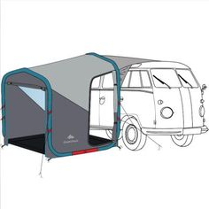 We made this inflatable camping shelter with families of four to six in mind, who need a connectable, quick-to-set-up living area that offers protection from. Camper Diy, Bus Camper, Camping Outfits, Camping Activities, Camping Hacks, Diy Camping, Vw T5, Volkswagen, Winter Camping Gear