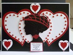 Card made using Tattered Lace Heart Layering dies with Tonic silhouette die