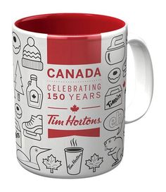 Treasures By Brenda: Tim Hortons Canada Celebrating 150 Years Coffee Mug. Don't miss out on this Limited Edition piece, the perfect souvenir of Canada's birthday party, July Canada Day. Personalized Water Bottles, Personalized Mugs, Tim Hortons Canada, Tim Hortons Coffee, Canada Day Party, All About Canada, Canada 150, Starbucks Mugs, I Love Coffee