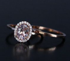 Morganite Engagement Ring Bridal Ring Set in 14k Rose Gold with Morganite Oval 8x6mm and Diamond Halo and Plain Gold Wedding Band by Twoperidotbirds on Etsy https://www.etsy.com/ca/listing/227375730/morganite-engagement-ring-bridal-ring