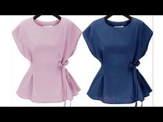 This tutorial is set to guide you to cut a peplum blouse of just ONE piece - No separate peplum , No separate sleeves. Frock Patterns, Baby Girl Dress Patterns, Dress Sewing Patterns, Kurti Designs Party Wear, Blouse Neck Designs, Stylish Tops For Women, Girls Dresses Sewing, Sleeves Designs For Dresses, Fancy Tops