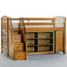 School House Storage Junior Loft with Stairs - Pecan