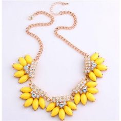 Keep jewelry away from water, lotion, perfume, and all other chemicals. When jewelry is not worn, please keep in a jewelry box or pouch. http://youblue.co/yellow-plated-crystal-necklace.html