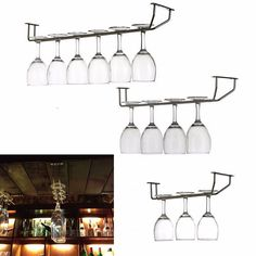 Champagne Stemware Holder Chrome Plated Wine Rack Glass Cup Kitchen Wall Bar Hanger Enclosed Stainless Steel Screw 27/35/55cm