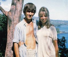George and Pattie in Tahiti posing at the same tree John and Cynthia did