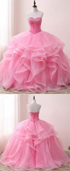 Rufflets pink organza prom dress,Beaded prom dress, Long evening gown for teens #prom #dress #promdress #promdresses