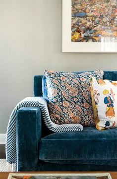 Gorgeous teal velvet sofa with simple modern lines