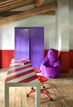 color block interior: red and purple