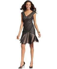 London Times Dress, Sleeveless Pleated Mesh Cocktail | KW