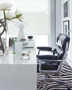super chic office with zebra print rug