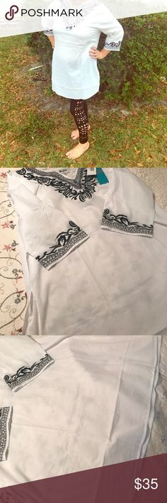 NWT Leggings&Tunic embroidered (M)  (S/M) I bought three of these outfits. I bought two for me so I could see which size I needed and one for my daughter. My daughter's is too big. Needless to say, I have two extras. This post is for a Medium tunic and a small/medium leggings. The outfit is comfortable and super cute. Boffo Tops Tunics