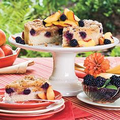 Blackberry-Peach Coffee Cake; Let this fruit-filled cake be the start of your next special-occasion breakfast or potluck. Cinnamon and nutmeg in Streusel Topping complete the flavor palate of succulent peaches and tart blackberries.