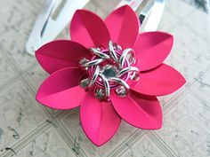 Pink Scale Chainmaille Flower Barrette Set Pink by AlycenMaille