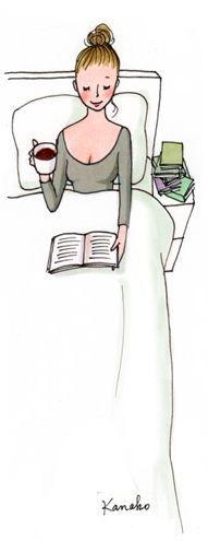 Kanako illustration - My Little Paris | One of my facorite activity on Sunday morning (with a messy hair, it also works :)) | Une de mes activités préférées le dimanche matin (avec des cheveux en pétard, cela marche aussi :))