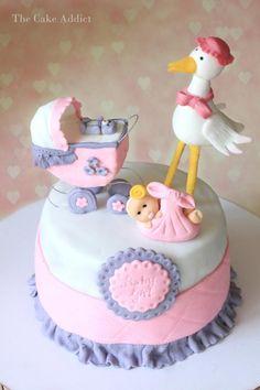 Stork Baby shower cake - Cake by Thecakeaddict