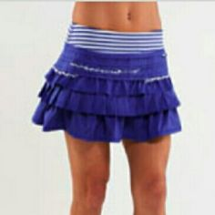 Lululemon Back on Track Skirt Gently worn. No stains. No peeling. Back on Track Skirt in Pigment Blue White Stripe. No trades. If interested and make an offer please use offer button. Thank you! lululemon athletica Skirts