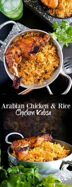 Arabian Chicken and Rice (Chicken Kabsa) Feast like a king with this Arabian style flavorful rice and grilled chicken Lebanese Recipes, Indian Food Recipes, Ethnic Recipes, Arabic Recipes, Arabic Chicken Recipes, Persian Chicken And Rice Recipe, Eid Recipes, Recipes Dinner, Kitchen Recipes