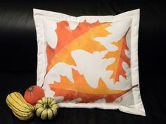 SHIPS TOMORROW Oak leaf autumn throw pillow painted by crabbychris, $41.00