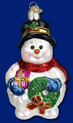 Lumpy Snowman,  Old World Christmas Glass Ornaments