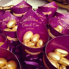 Külah Nikah Şekeri | Nişan Şekeri | Mor ve Altın Düğün | Wedding Favors | Purple & Gold Wedding