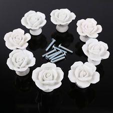 8pcs Rose Poignée Bouton décoration porte meuble placard tiroir blanc rose noir