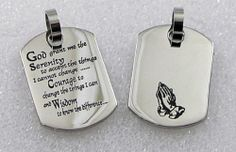 """Serenity Prayer Dog Tag Praying Hands Stainless Steel Pendant Necklace 20"""""""